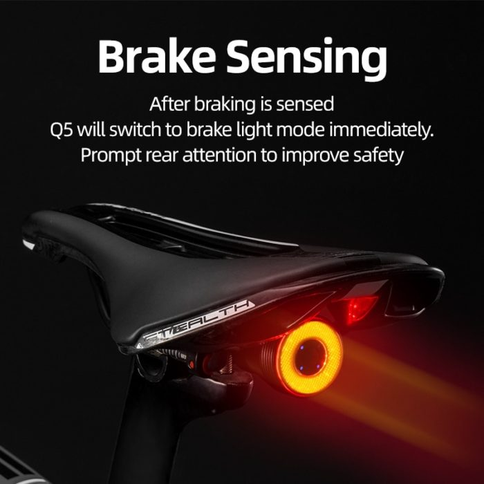 ROCKBROS Bicycle Smart Auto Brake Sensing Light IPx6 Waterproof LED Charging Cycling Taillight Bike Rear Light Accessories Q5 2
