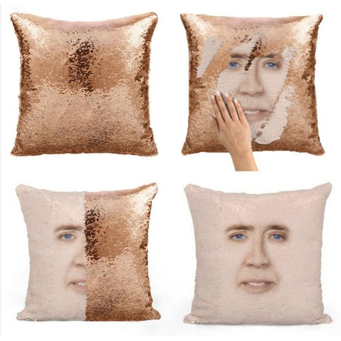 Super Shining Trump Reversible Color Changing Pillow Case Magical Nicolas Cage Cushion Cover With Sequins Pillow Cover 40x40cm 2