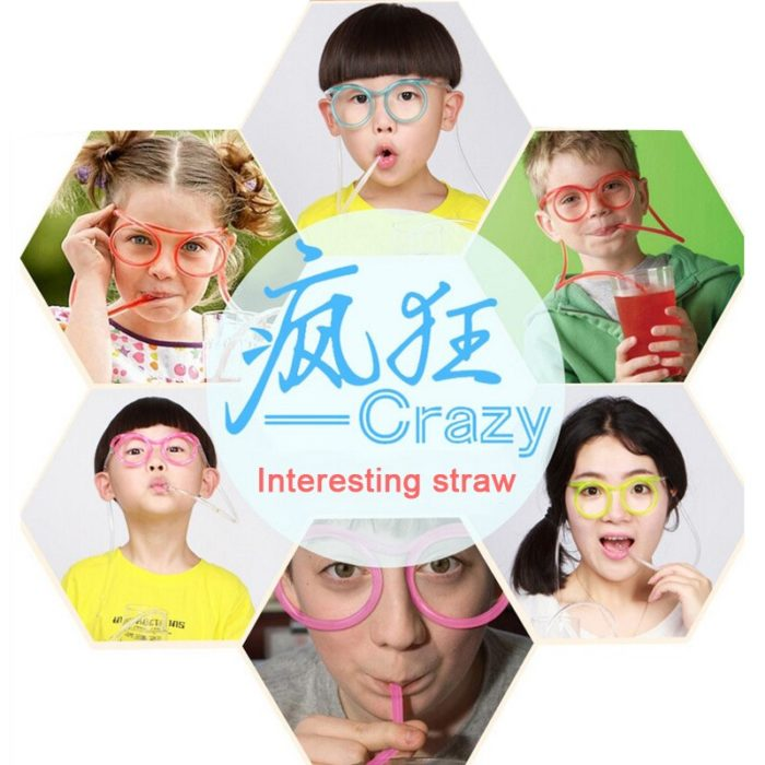 1PC Fun Soft Plastic Straw Funny Glasses Flexible Drinking Toys Party Joke Tube Tools Kids Baby Birthday Party Funny Gadgets 6
