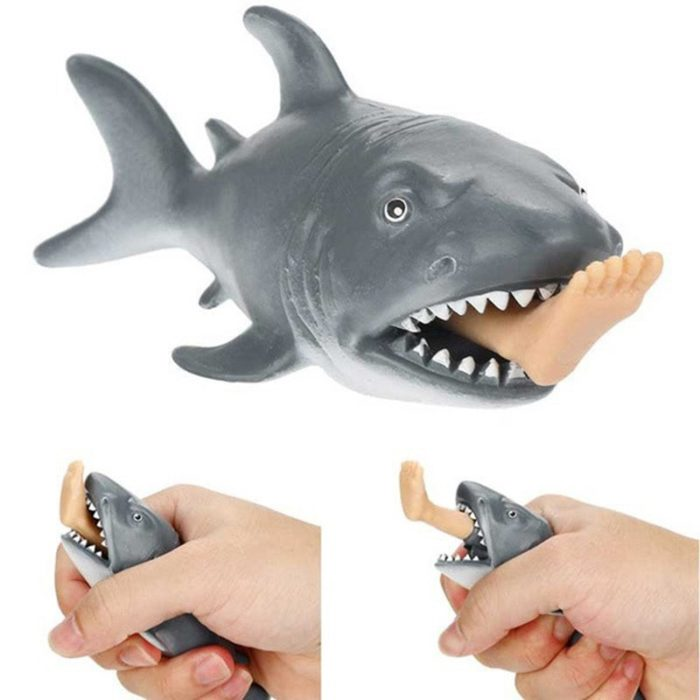 1pc Anti Stress Squeeze Toy Creative Biting Leg Shark Toy Plastic Funny Spoof Trick Gift for kids  freeshipping 1