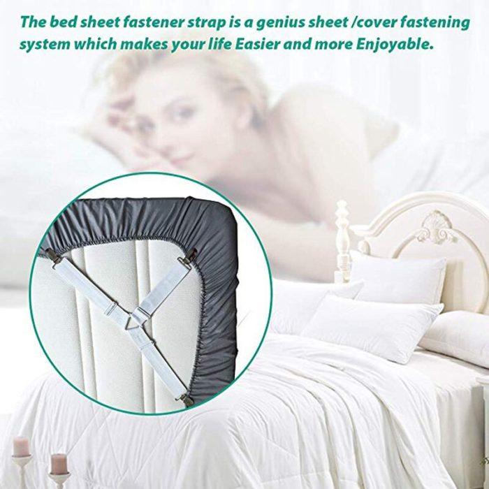 4Pcs/set Elastic Bed Sheet Grippers Belt Fastener Bed Sheet Clips Mattress Cover Blankets Holder Home Textiles Organize Gadgets 3